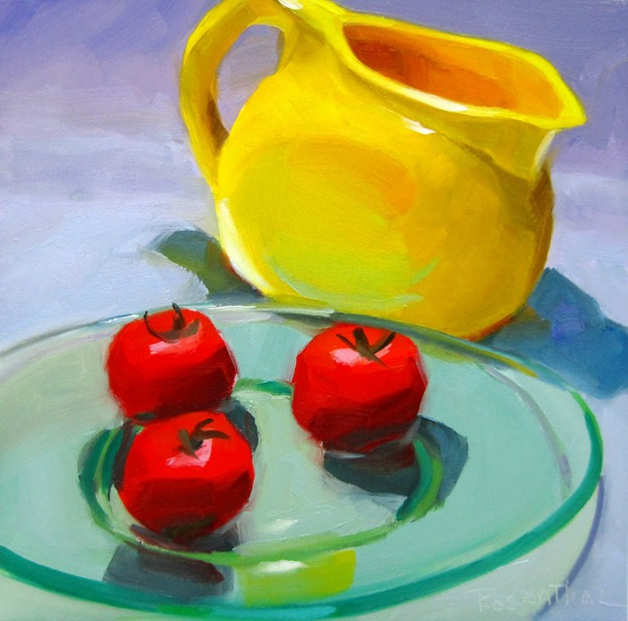 """Yellow Pitcher and Cherry Tomatoes"" original fine art by Robin Rosenthal"