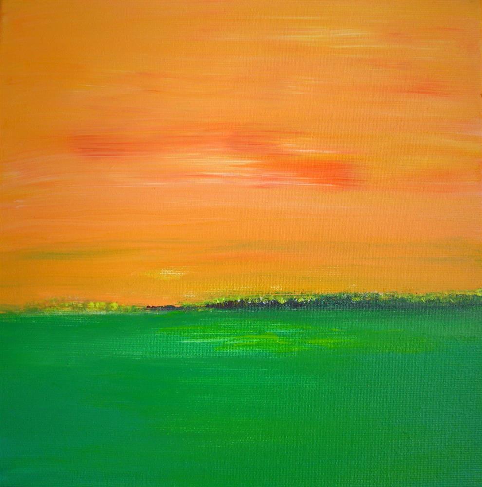 """Sunset Field Orange Green"" original fine art by Alina Frent"