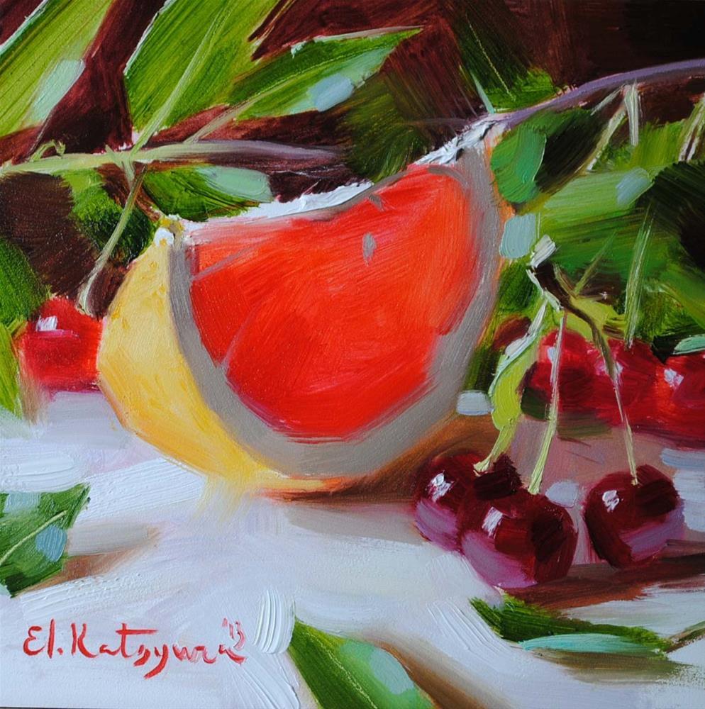 """""""Grapefruit and Wild Cherries"""" original fine art by Elena Katsyura"""