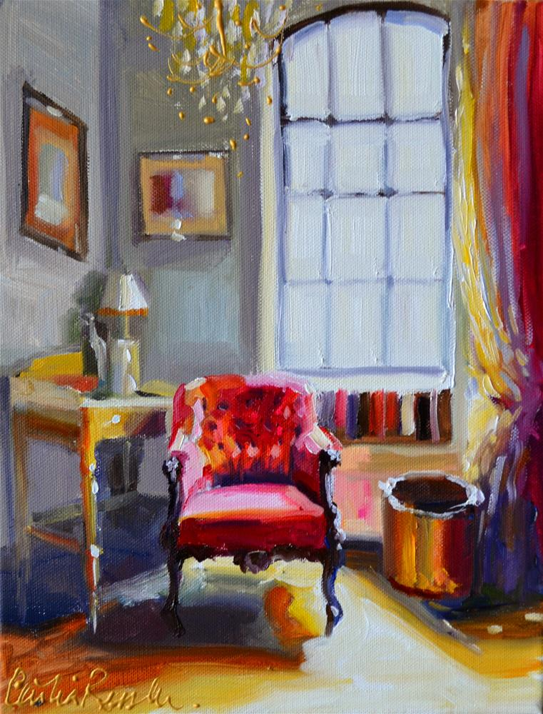 """CHAISE ROUGE"" original fine art by Cecilia Rosslee"