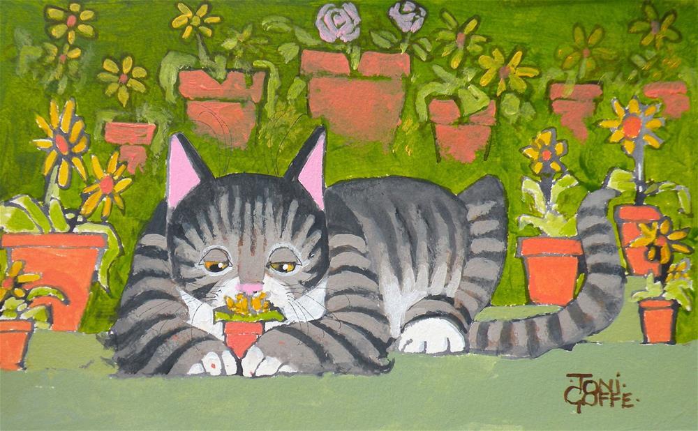 """Tending My Garden"" original fine art by Toni Goffe"