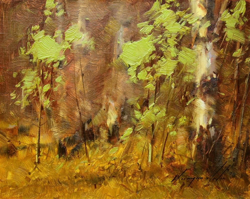 """BIRCHES GROVE ORIGINAL OIL PAINTING ON CANVAS GALLERY QUALITY"" original fine art by V Yeremyan"
