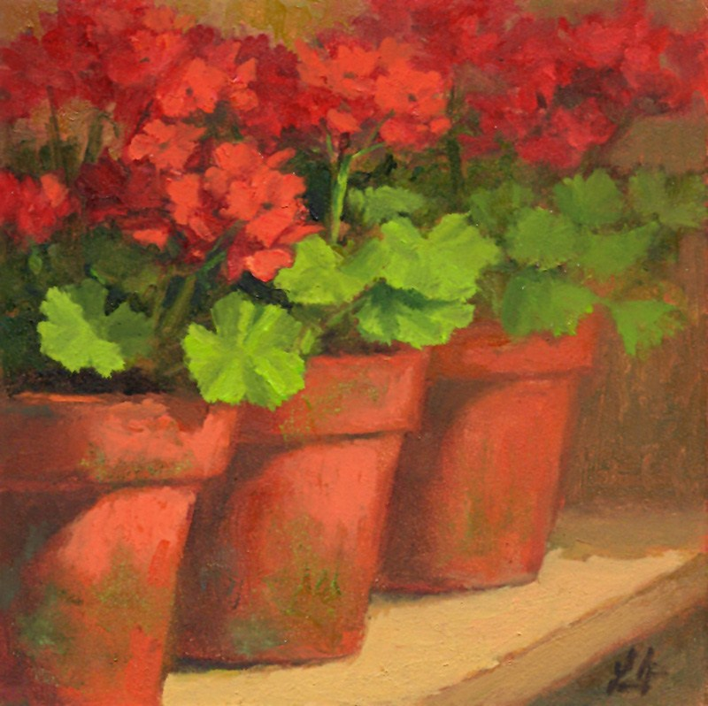 """Potted Geraniums"" original fine art by Linda Jacobus"