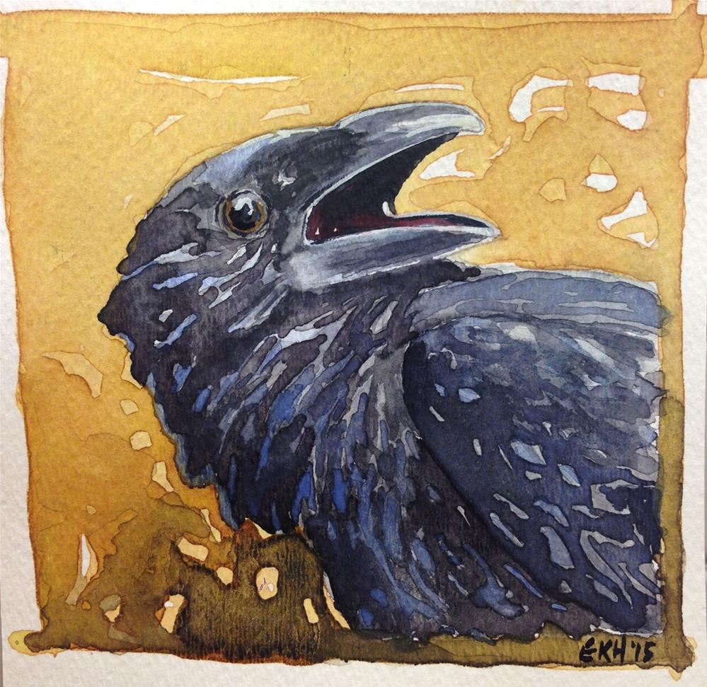 """Crow on Gold"" original fine art by Eileen Hennemann"