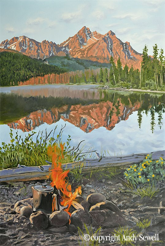 """Sawtooth Morning Brew"" original fine art by Andy Sewell"