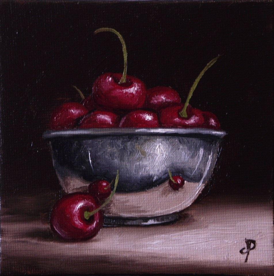 """Little Silver Cherry bowl"" original fine art by Jane Palmer"
