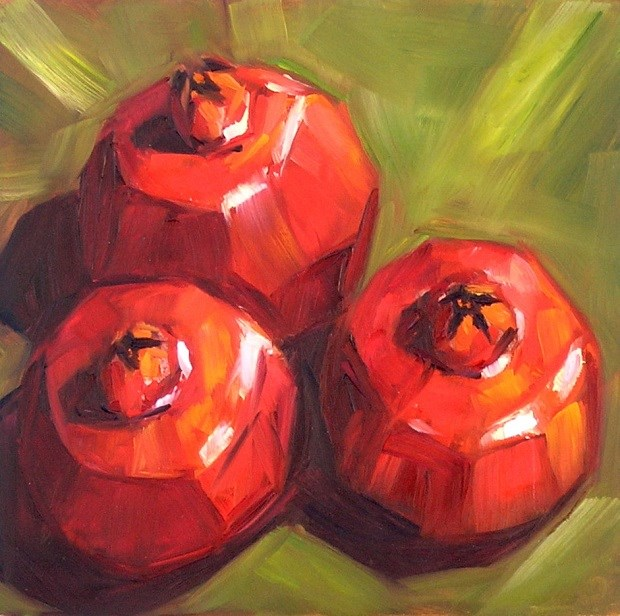 """Trio: pomegranates"" original fine art by Irina Beskina"