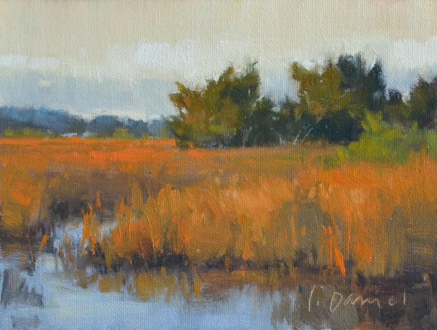 """Golden Marshland Study"" original fine art by Laurel Daniel"