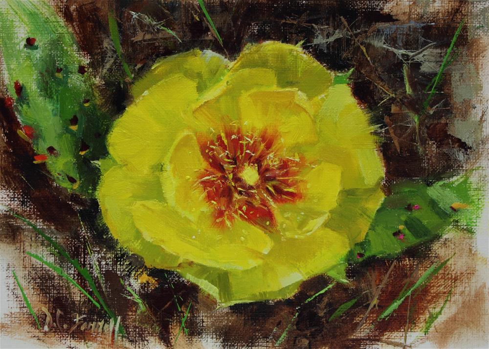 """Blooming Prickly Pear Cactus"" original fine art by Donna C Farrell"