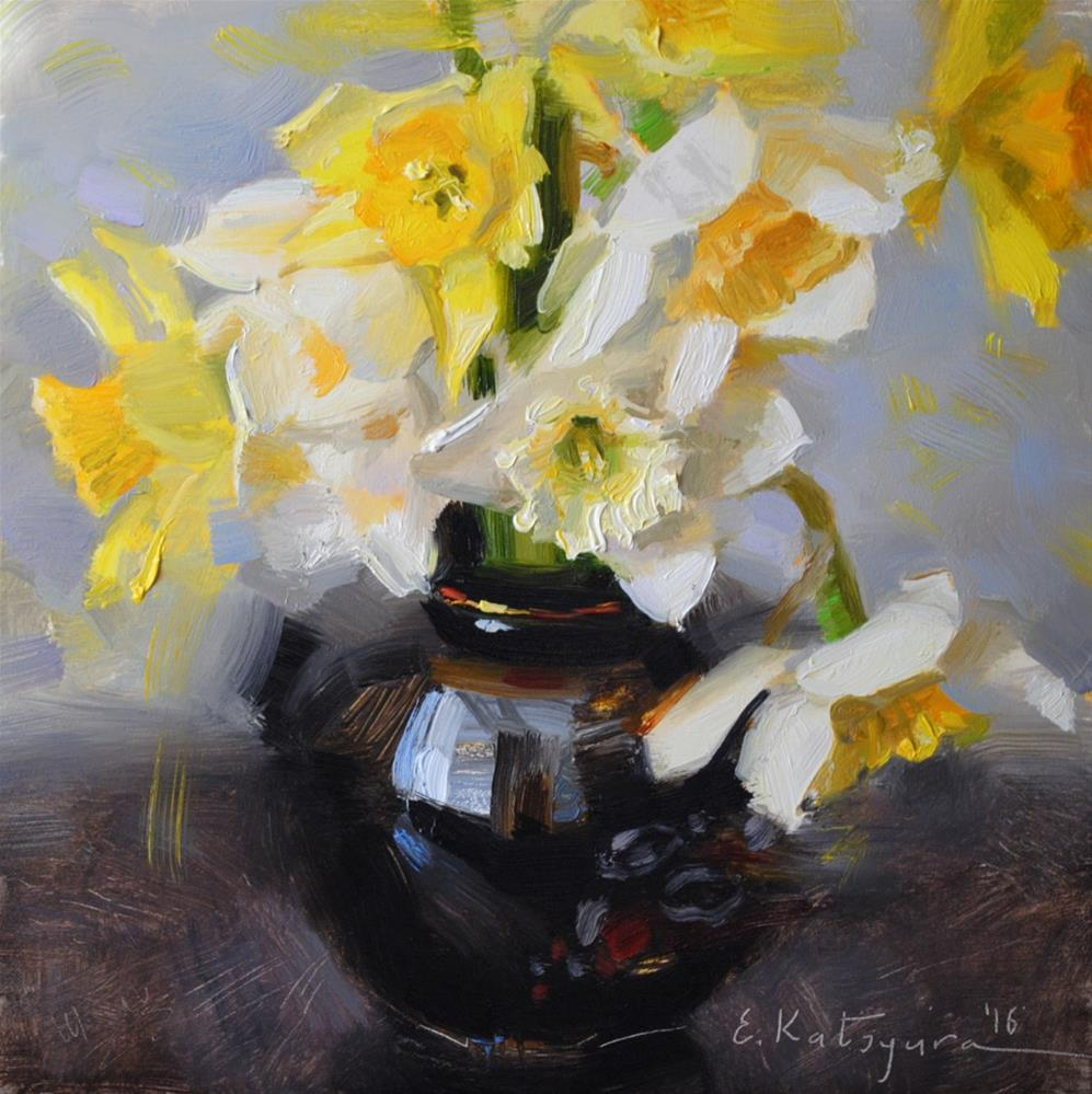 """Early May Daffodils"" original fine art by Elena Katsyura"