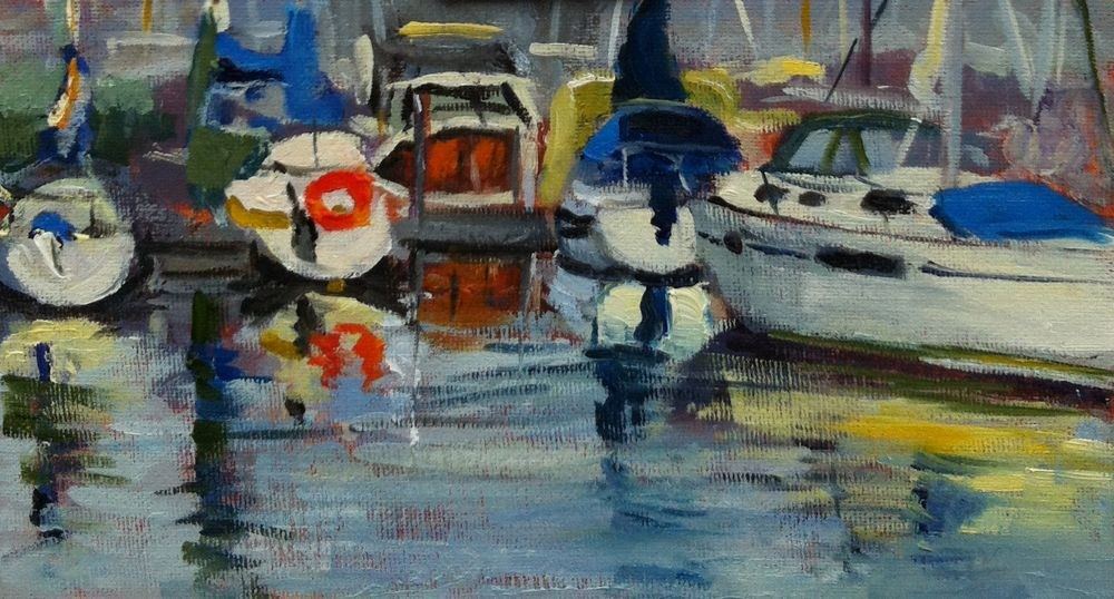 """Oak Bay Marina,53/4 x10, oil on canvas board"" original fine art by Darlene Young"