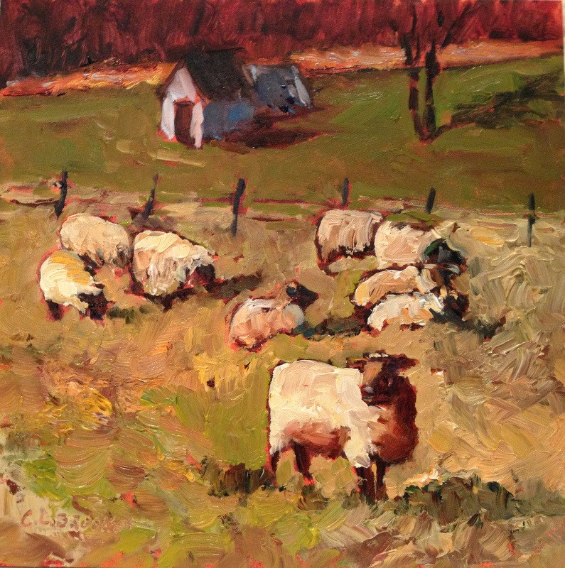 """Sheep on Carroll Road I, Day 42"" original fine art by Claudia L Brookes"