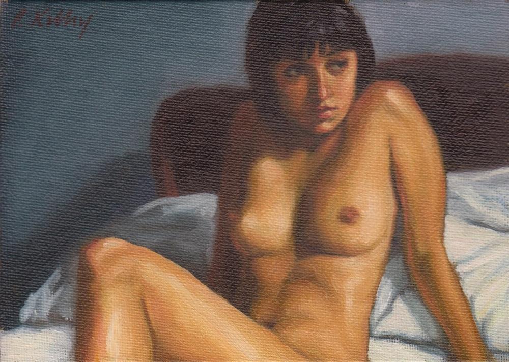 """""""Reclining Nude in Bed"""" original fine art by Pat Kelley"""