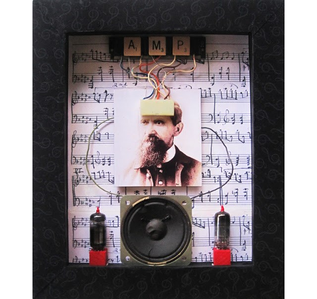 """Wired For Sound - mixed media assemblage art"" original fine art by Linda Apple"
