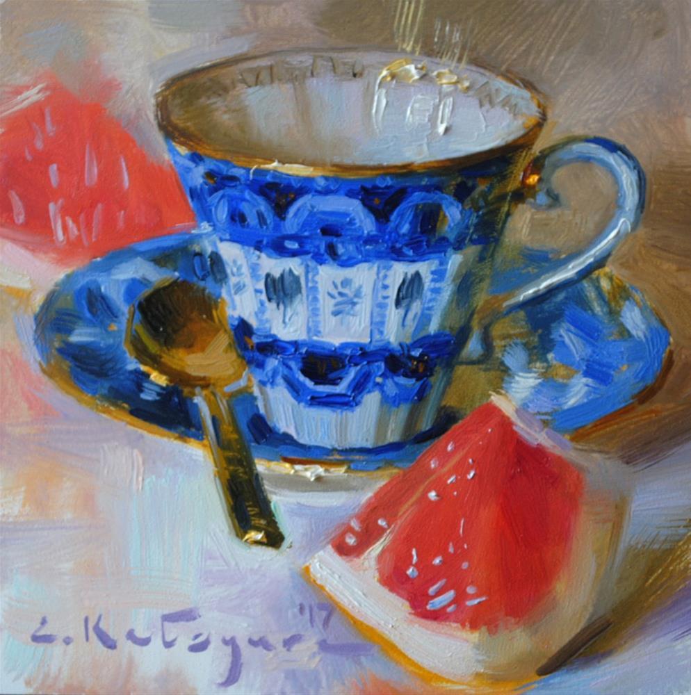 """Cobalt Cup and Citrus"" original fine art by Elena Katsyura"