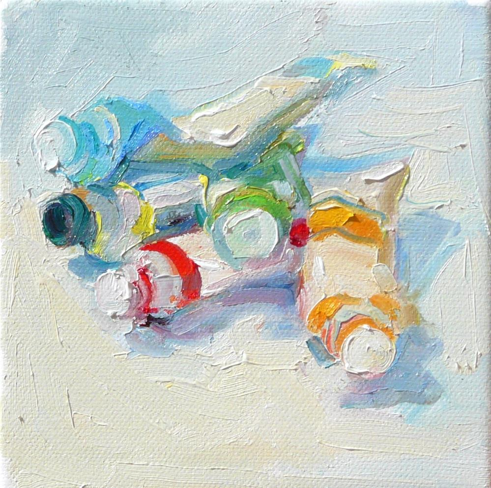 """Paint Tube Piles,still life,oil on canvas,6x6,price$200"" original fine art by Joy Olney"