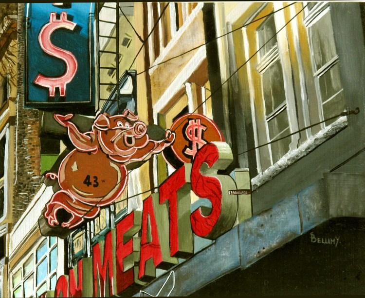 """Save On Meats Vancouver"" original fine art by Sherry Bellamy"