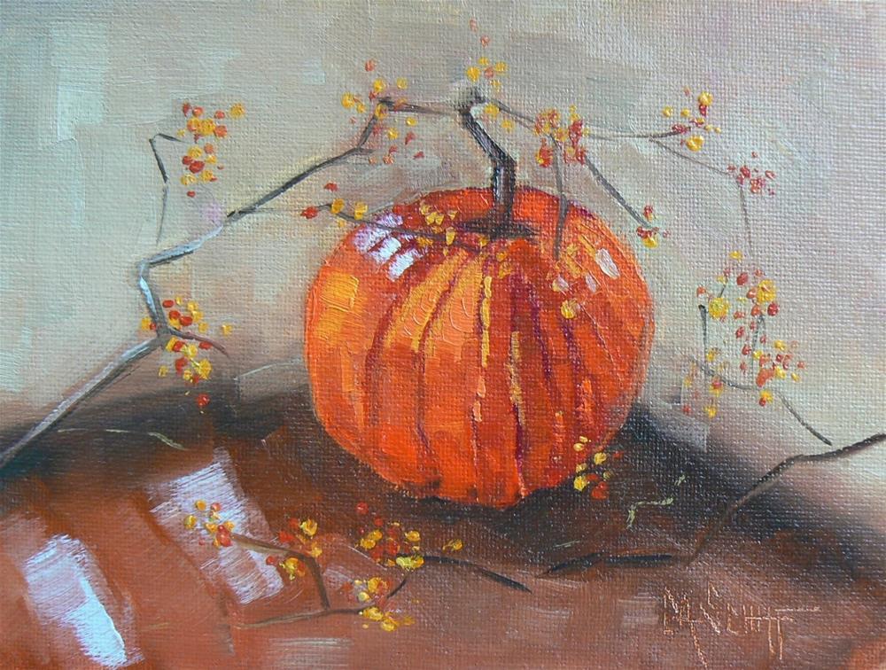 """WILD AND WACKY WEDNESDAY, Pumpkin and Bittersweet, 6x8 Oil"" original fine art by Carol Schiff"