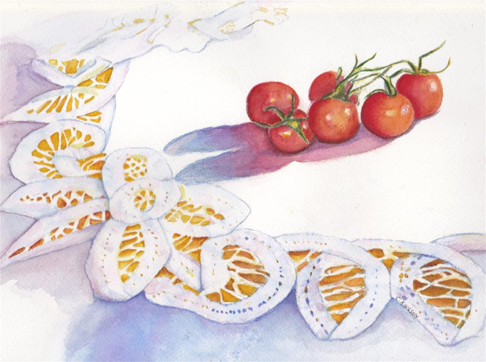 """Lace and Tomatoes"" original fine art by Christiane Kingsley"