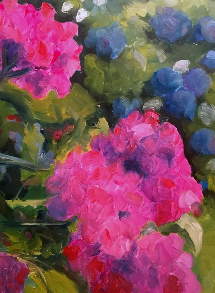 """Pink and Blue Hydrangeas"" original fine art by Susan Elizabeth Jones"