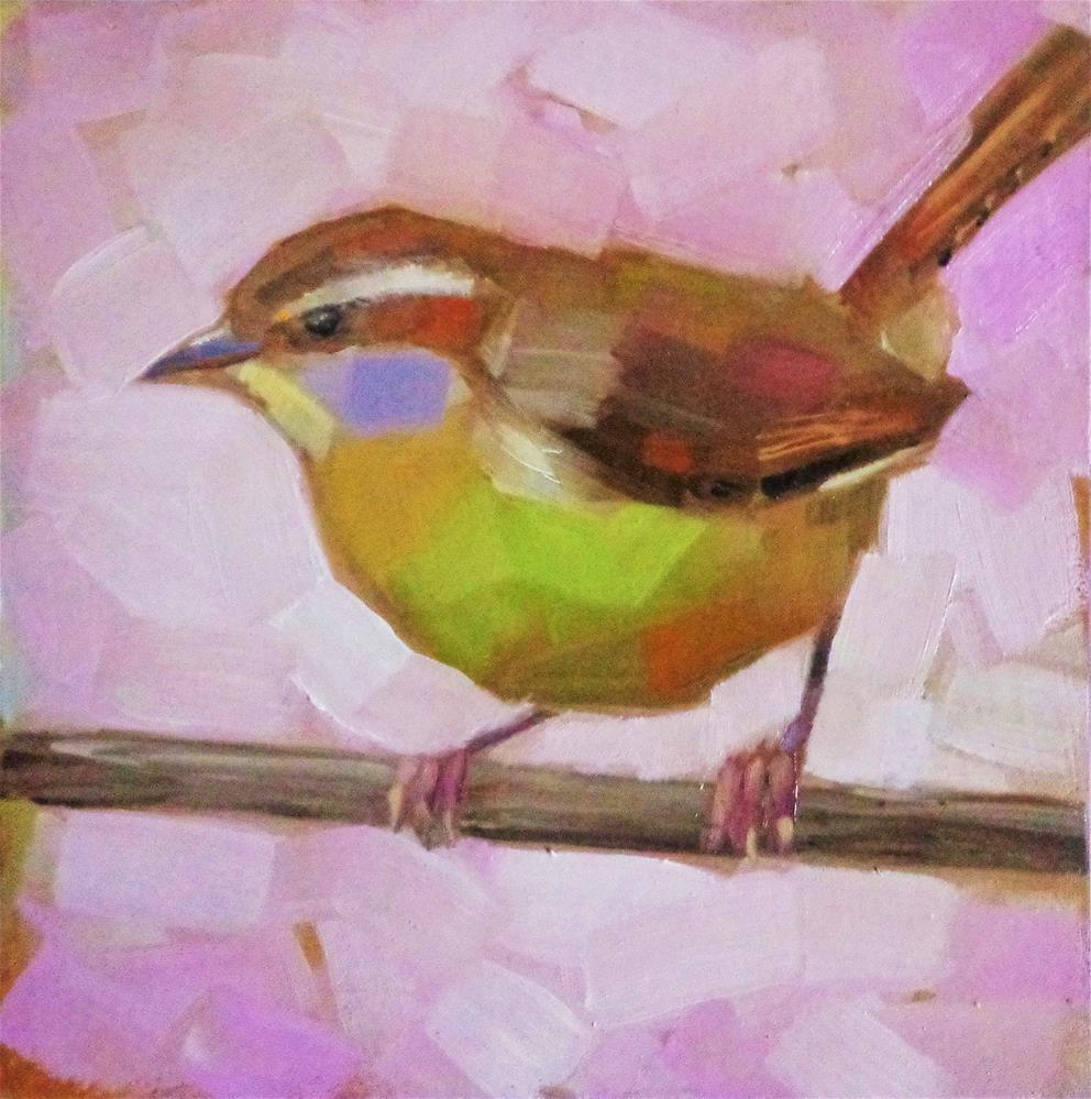 """Carolina wren on a branch"" original fine art by Maria Z."