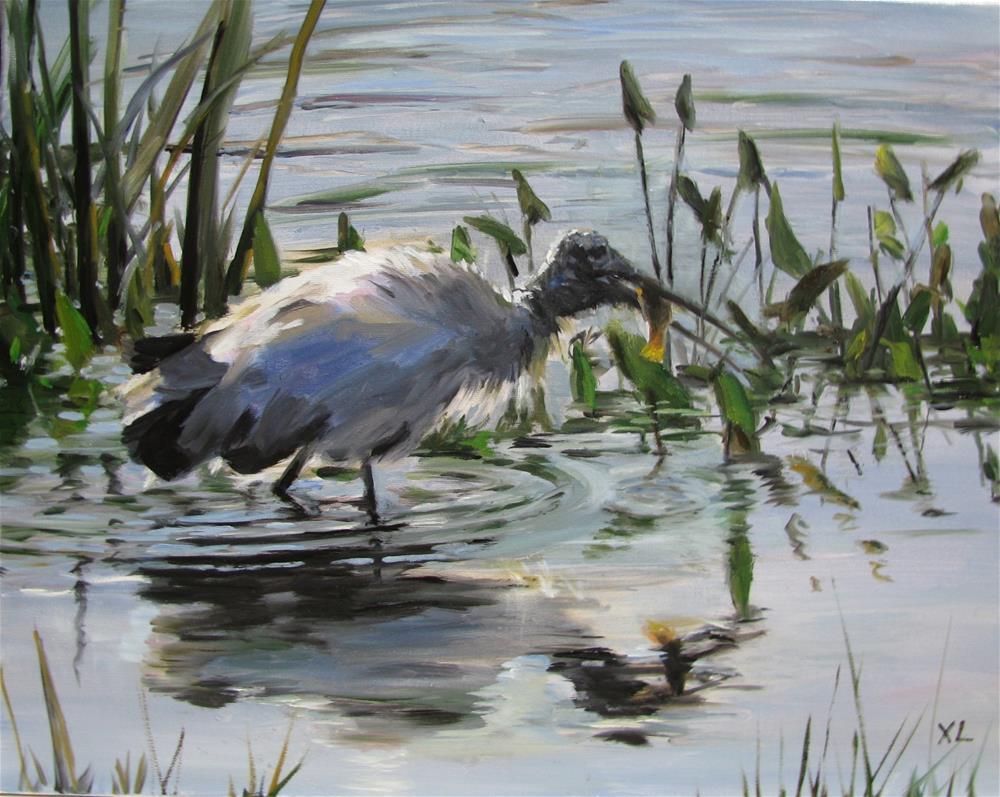 """""""Resident of the wetland"""" original fine art by Xiao Li"""