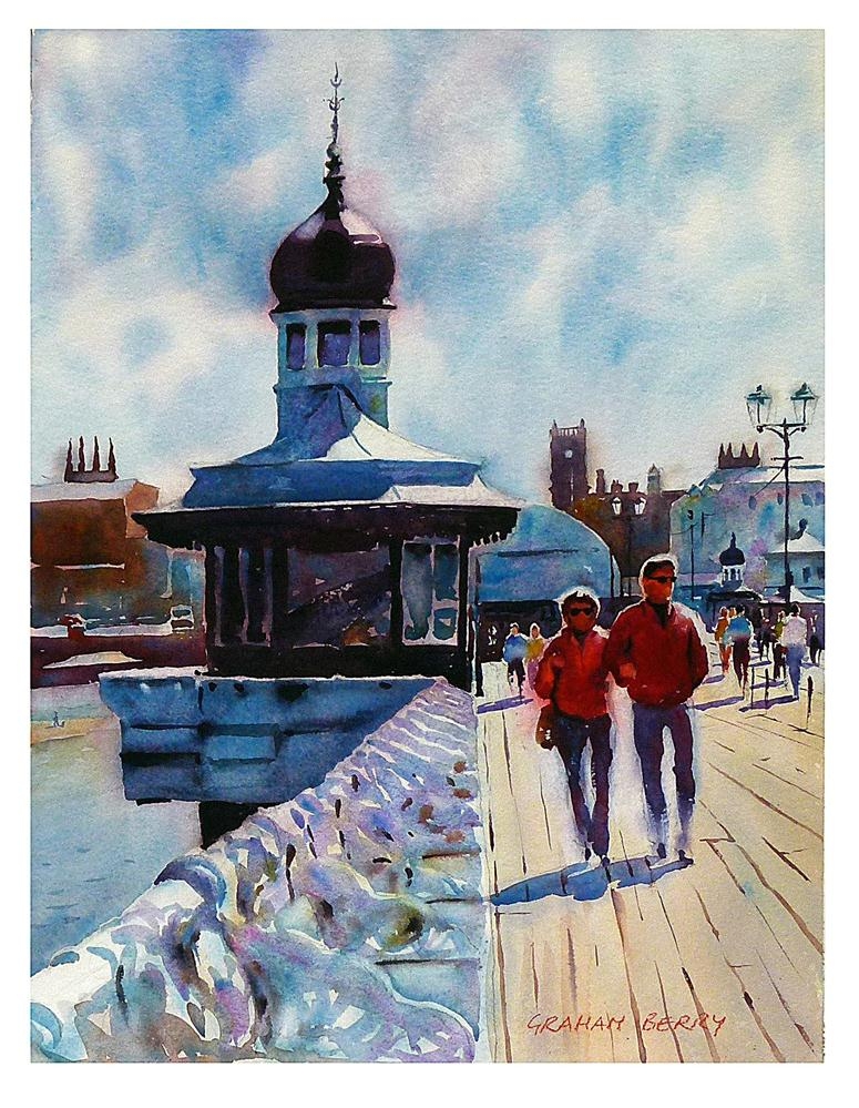 """Strolling on the pier."" original fine art by Graham Berry"