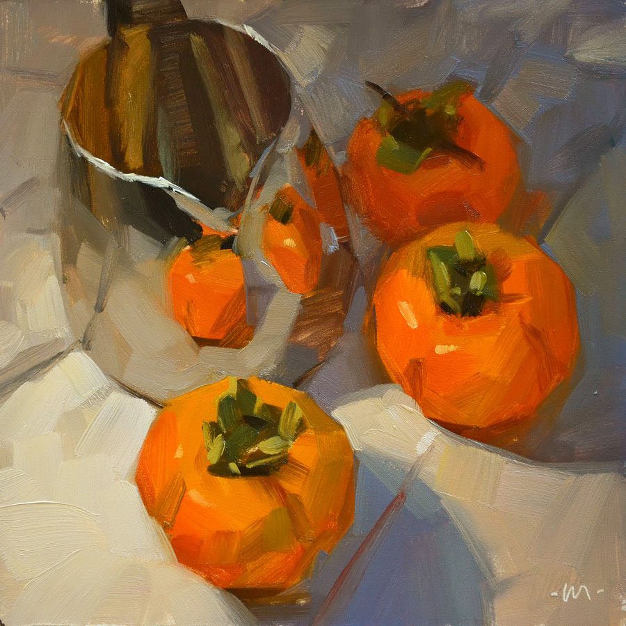 """Reflecting Persimmons"" original fine art by Carol Marine"