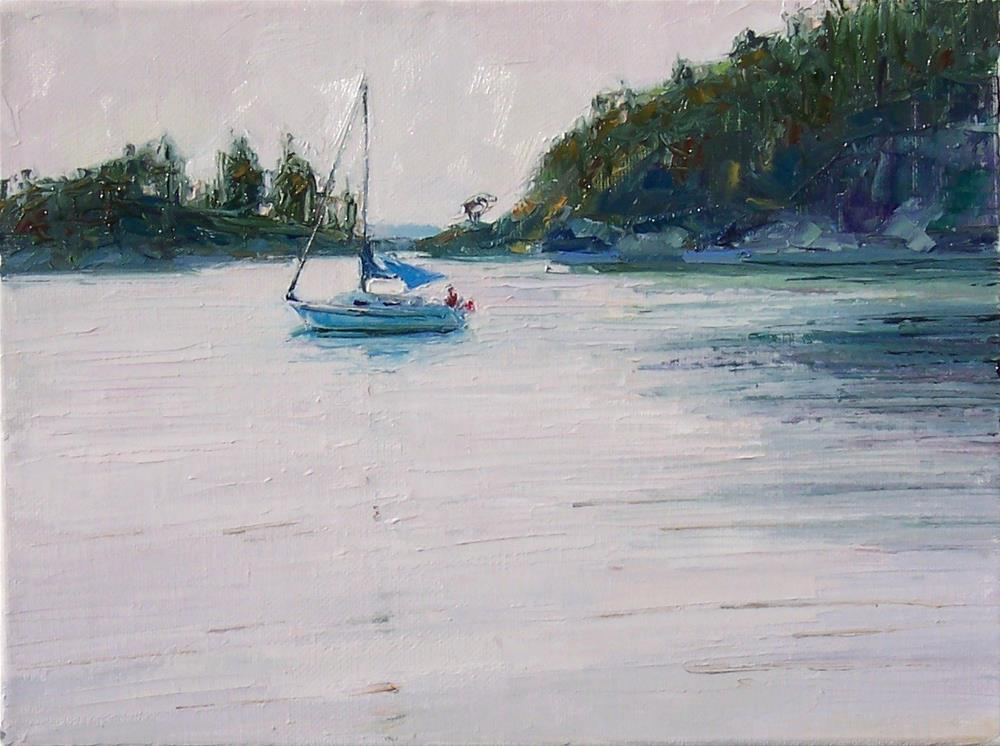 """Sail. Boat at Bowman,seascape,oil on canvas,8x10,priceNFS"" original fine art by Joy Olney"