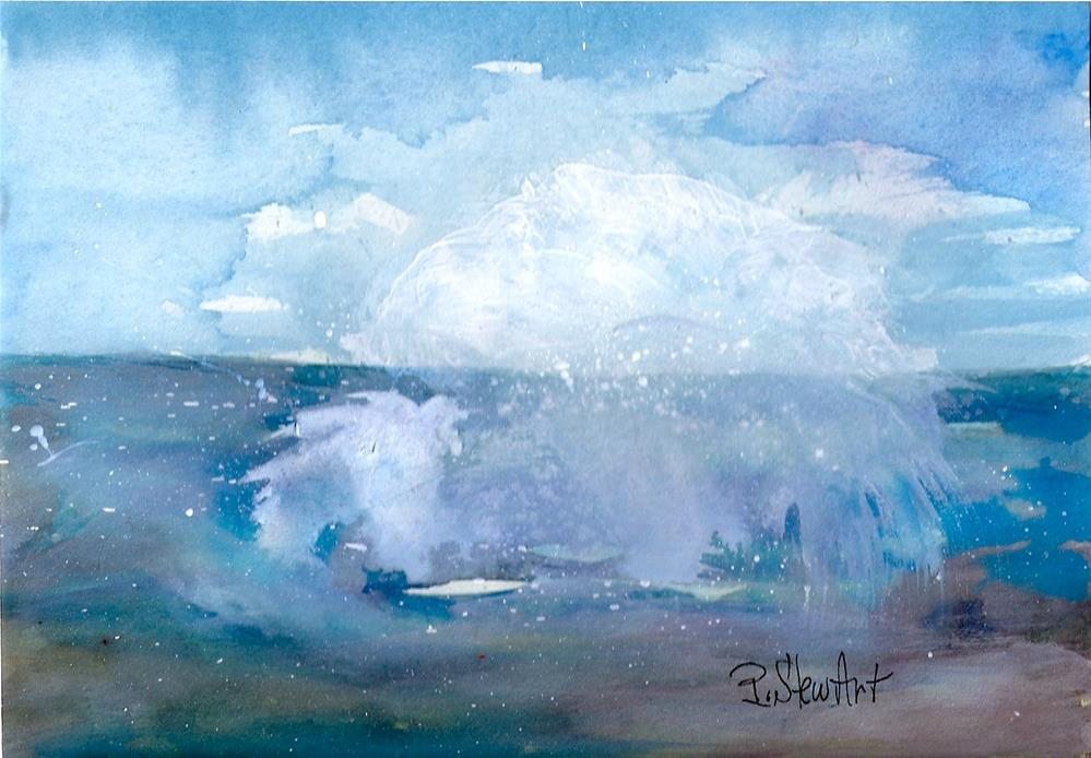 """5x7 Abstract Seascape Splash Watercolor Mixed Media Original Penny StewArt"" original fine art by Penny Lee StewArt"