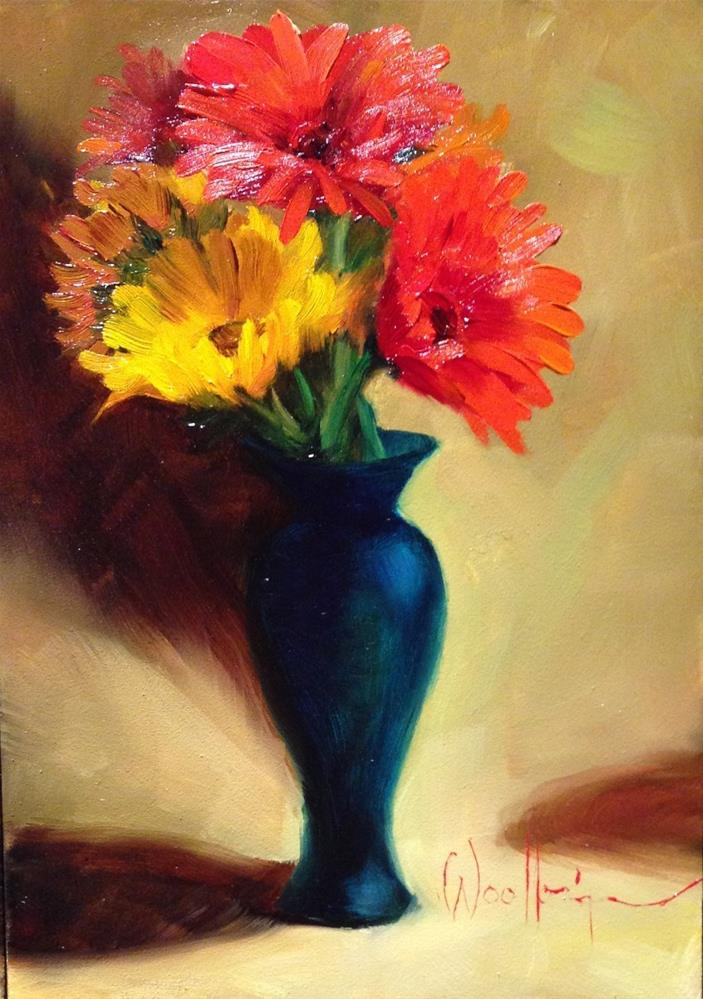 """""""Daisies and Sunflowers"""" original fine art by Dorothy Woolbright"""