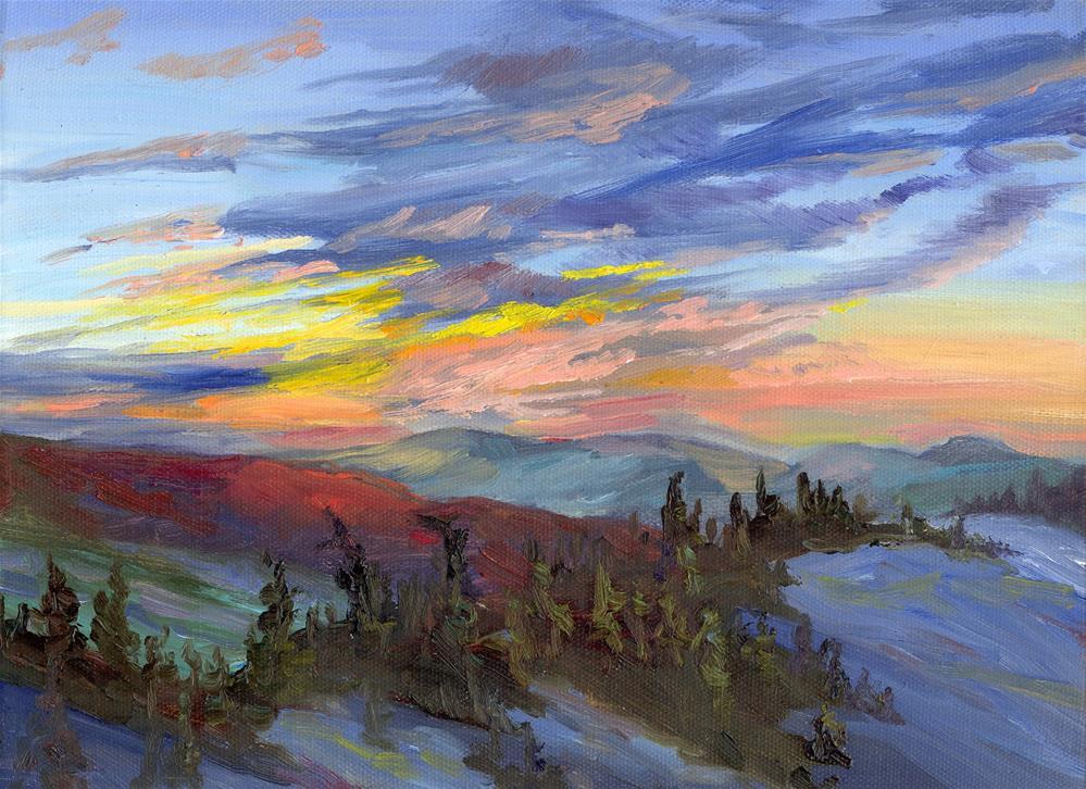 """SKYLINE SUNRISE"" original fine art by Karen E Lewis"