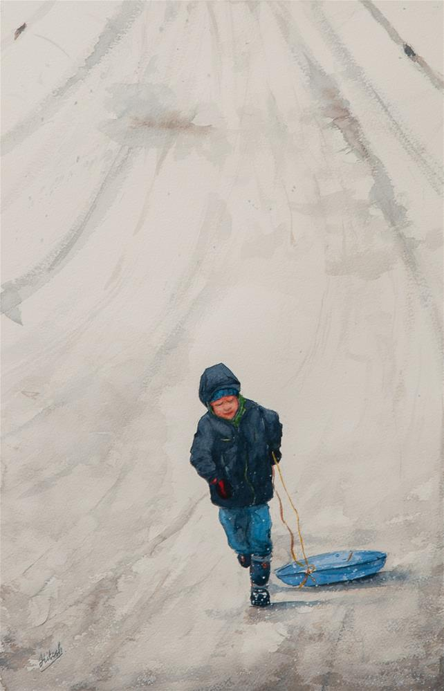"""Little Sledder"" original fine art by Tesh Parekh"