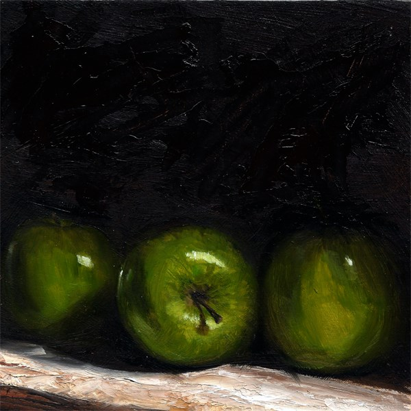 """Three Green Apples"" original fine art by Peter J Sandford"