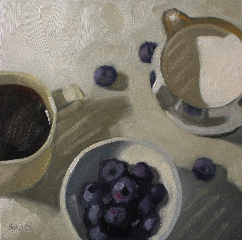 """Berries 'n cream  6x6   oil"" original fine art by Claudia Hammer"