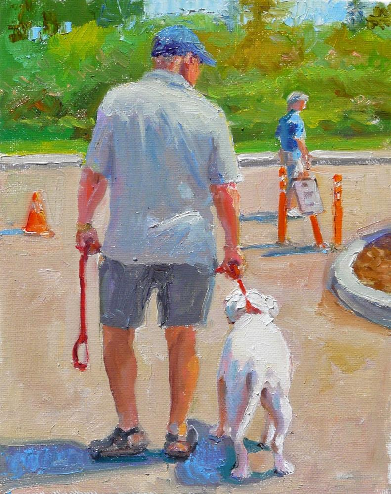 """Dog Walk,figure,oil on canvas,10x8,price$450"" original fine art by Joy Olney"