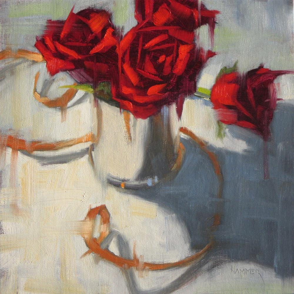 """Roses and Ribbon 3  8 x 8  oil"" original fine art by Claudia Hammer"