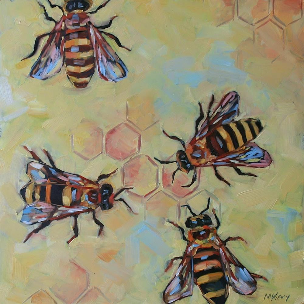 """Busy Bees"" original fine art by Mary Anne Cary"