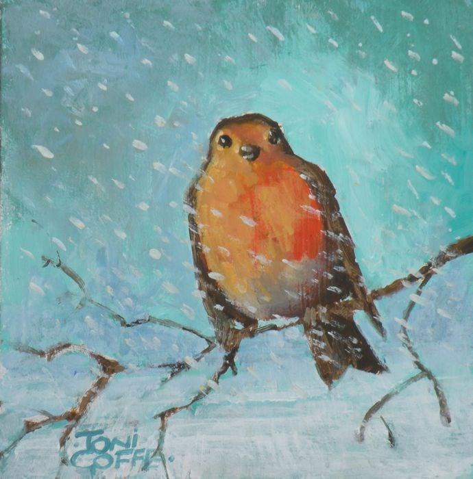 """""""Snowy Robin"""" original fine art by Toni Goffe"""