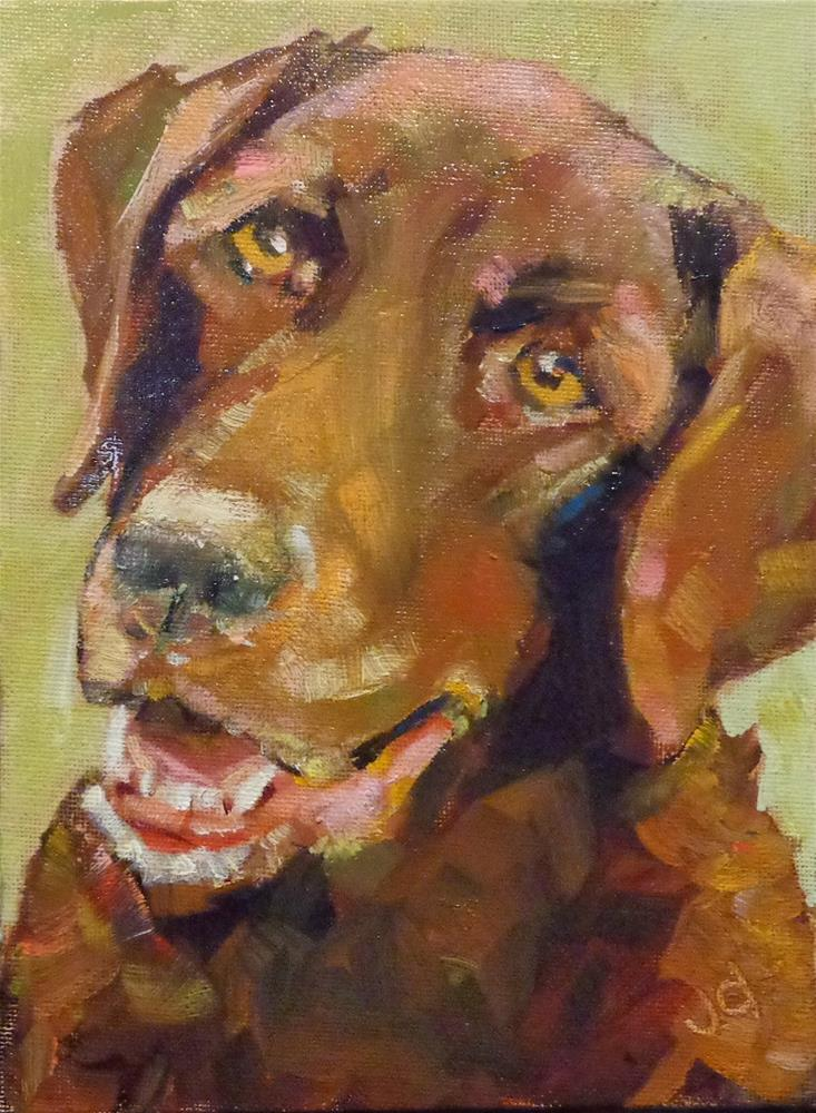 """Where's my ball?"" original fine art by Jean Delaney"