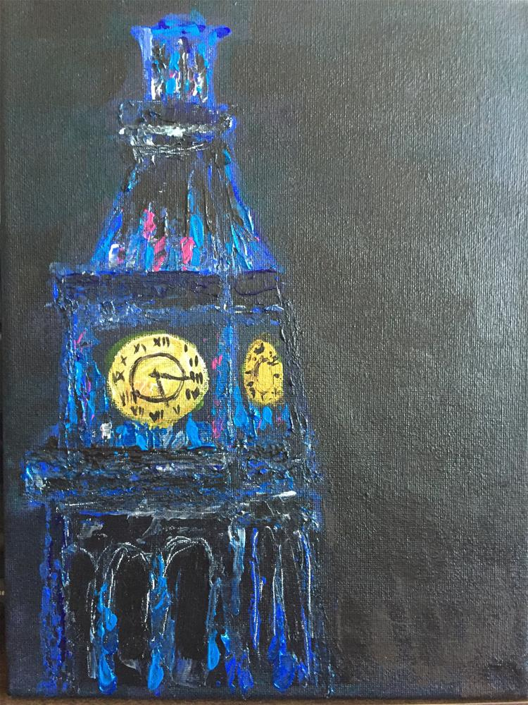 """4am Clock tower"" original fine art by Cheree Apalona Lueck"