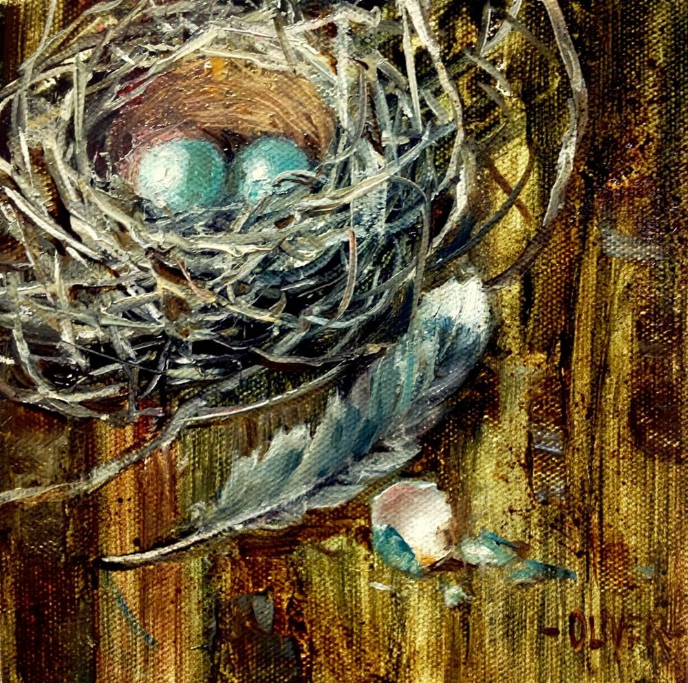 """Nest, Feather and Eggs"" original fine art by Julie Ford Oliver"