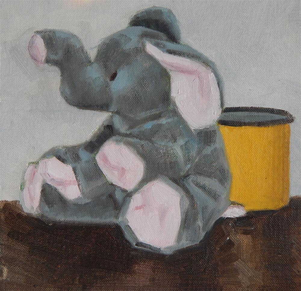 """Elephant and Yellow Cup"" original fine art by Megan Schembre"