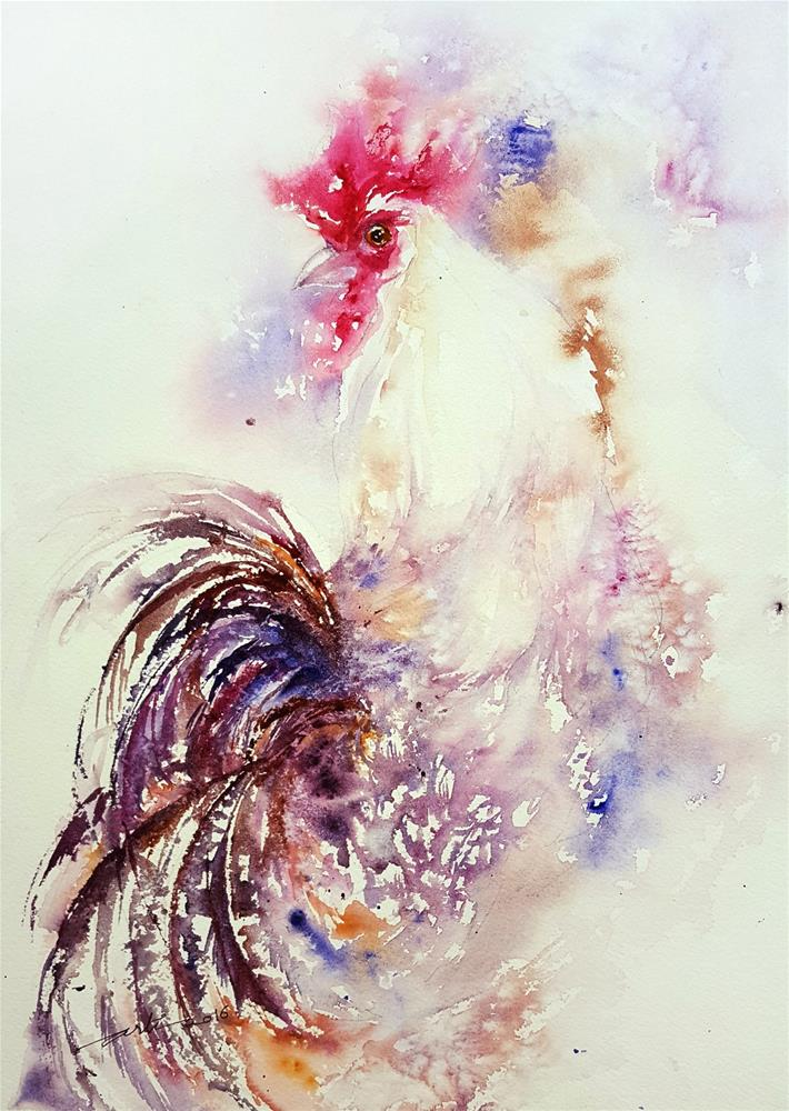 """White Rooster _In a dream"" original fine art by Arti Chauhan"