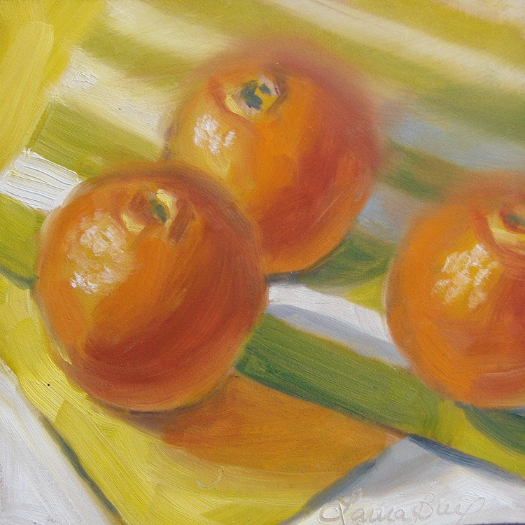 """Oranges and Green Stripes 449"" original fine art by Laura  Buxo"