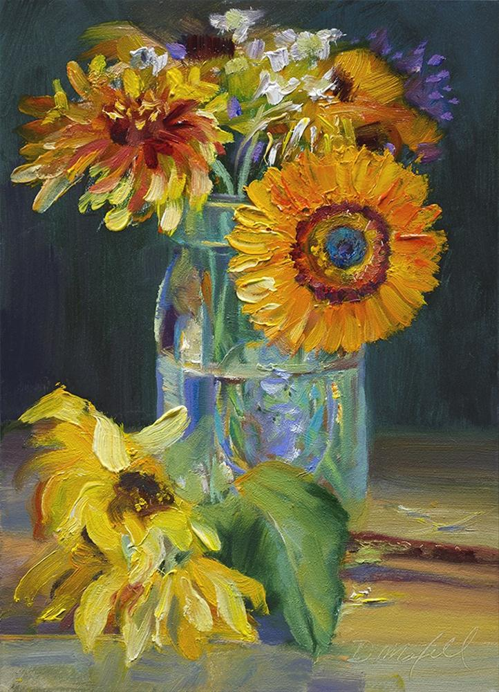 """Flowers in a Mason Jar"" original fine art by Denise Maxwell"
