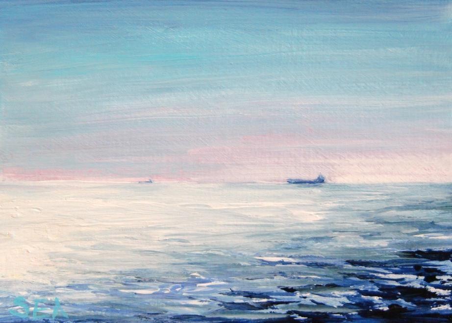 """""""3048 - THE OCEAN VOYAGE - ACEO Series"""" original fine art by Sea Dean"""