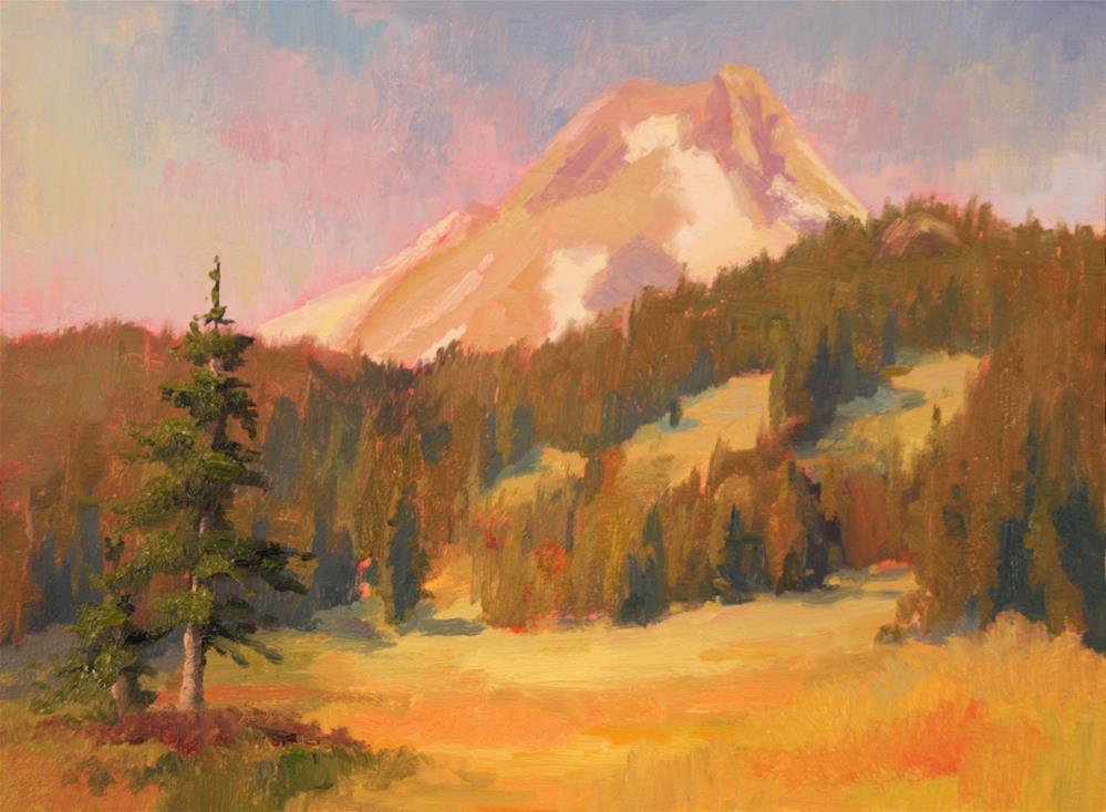 """MEADOWS AND MOUNTAIN"" original fine art by Karen E Lewis"