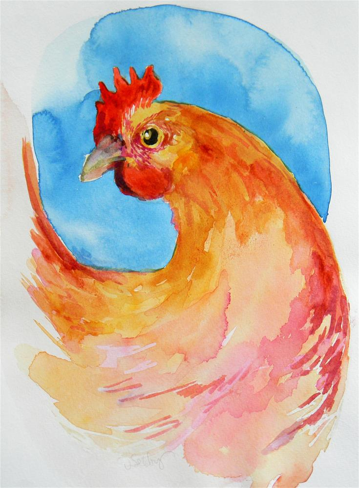 """Wet Hen"" original fine art by De Selby"