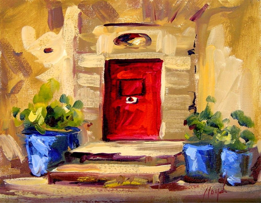 """Red Door and Blue Pots"" original fine art by Diane Lloyd"
